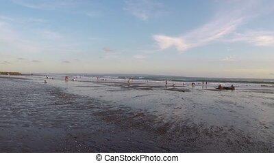 Summer ocean beach with people