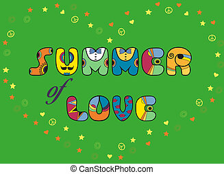 Summer of Love. Colorful artistic font