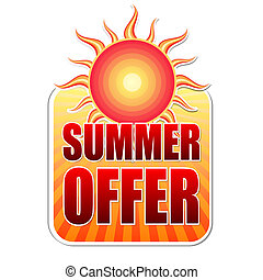 summer offer in label with sun