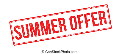 Summer offer red rubber stamp on white