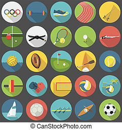 Summer olympic sports flat icon set part 1