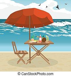 Summer on the beach: umbrella, sun, table, cocktail, coconut. Vector flat illustration. Seaside vacation outdoors under the sun
