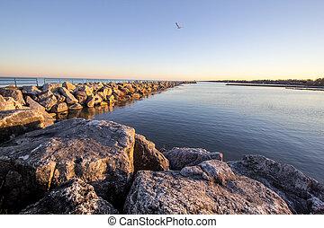 Summer On The Great Lakes Shore - Coastal Great Lakes harbor...