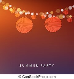 Summer or Brazilian june party, vector illustration background with garland of lights and paper lanterns