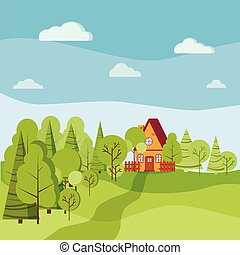 Summer or spring landscape with cartoon country house with ...