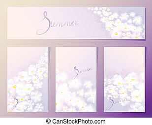 Summer organic floral pattern in the fourth frame in lilac tones. EPS10 vector illustration.