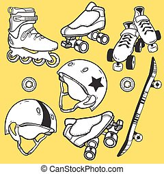 Summer outdoor activities sport equipment icons collection...