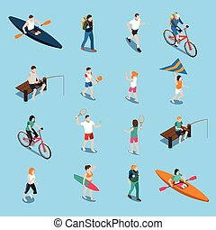 Summer Outdoor Activity People Icon Set