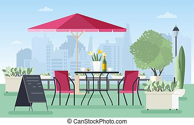 Summer outdoor cafe, coffeehouse or restaurant with table,...