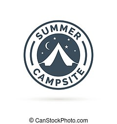 Summer outdoor camping icon badge with tent.