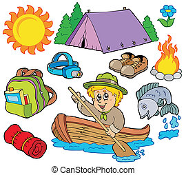 Summer outdoor collection - vector illustration.