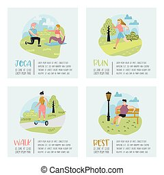 Summer Outdoor Sports Activities. Active People in the Park Poster Set, Banner. Running, Yoga, Roller, Fitness. Characters Doing Workout Outside. Vector illustration