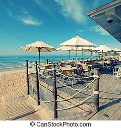 Summer outdoor terrace cafe (Algarve,Portugal) - Summer...