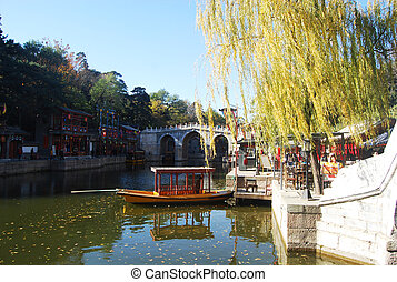 Summer Palace, Beijing - A chinese boat in Summer Palace,...