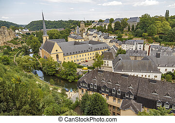 Abbey de Neumunster in Luxembourg City - Summer panorama of ...