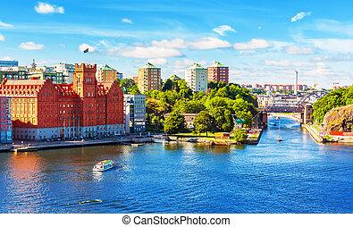 Summer panorama of Stockholm, Sweden