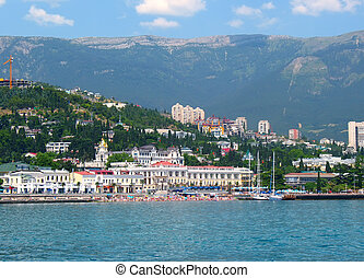 Summer panorama of Yalta city from the sea