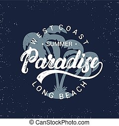 Summer paradise hand written lettering with palms ...