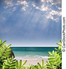 Summer paradise view with green foliage, beautiful beach,...