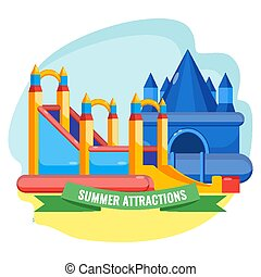 Summer park inflated attractions set colorful vector poster...