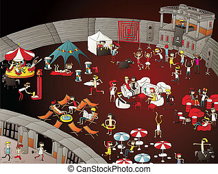 Summer Party Cartoon at Night