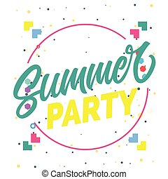 Summer Party Circle Frame Background Vector Image