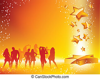 Summer Party Crowd Dancing Star Yellow Flyer. Editable Vector Image