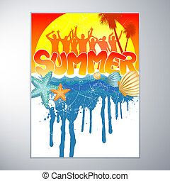 Summer Party Design - vector illustration of dancing people...