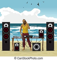 Summer party: DJ afro man and his equipment, dance music. Set of