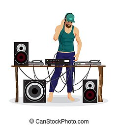 Summer party: DJ and his equipment, dance music. Set of loudspea