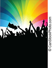 Happy crowd of people at a festival. Vector illustration
