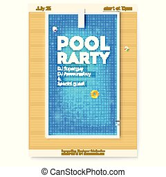 Summer party in swimming pool. Poster with design of text about party. Top view on pool with blue water, inflatable balls, circles and board for jumping into water. Vector template for events
