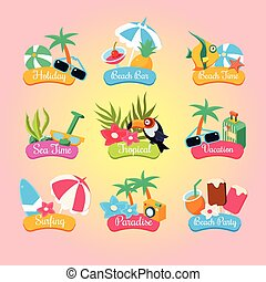 Summer Party Labels And Elements Set Isolated