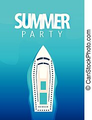 Summer party on cruise liner poster template. Sea travel. Vector illustration.