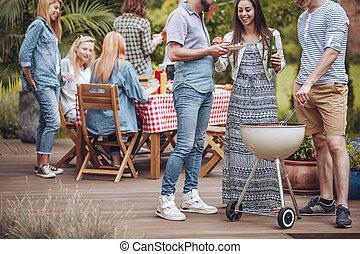 Summer party on garden patio