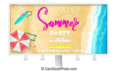 Summer party on seascape seashore with sandy beach. Advertising on Billboard. Vector poster of summer beach with waves of surf, sun umbrella, deck chair, surfboard. Cover, invitation on summer party