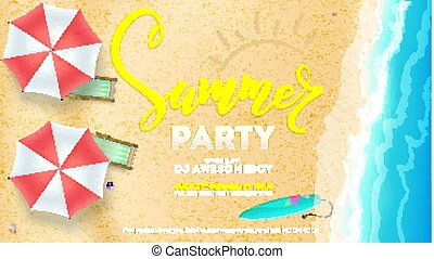Summer party on seascape seashore with sandy beach. Top view of summer beach with waves of surf, sun umbrella, deck chairs, surfboard. Vector poster, invitation of summer party, 3D illustration.