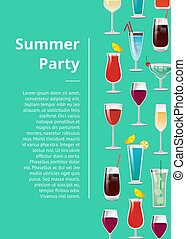 Summer Party Poster with Text and Set of Cocktails