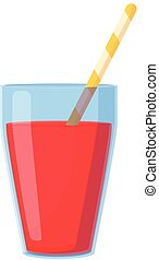 Summer party red drink icon, cartoon style