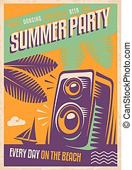 Summer party retro poster design. Beach party poster...