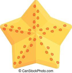 Summer party sea star icon, cartoon style