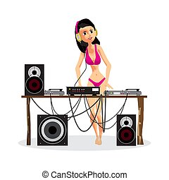 Summer party: Woman DJ in bikini and equipment, dance music. Set