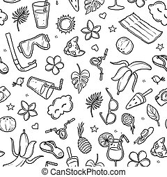 summer pattern, hand-drawn contour on a white background for children coloring. For adult anti stress coloring book.