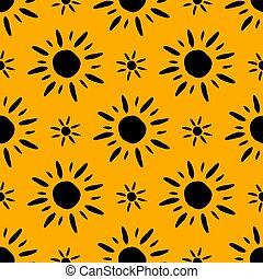 Summer pattern with hand drawn sun symbols. Seamless wallpaper background. Black yellow aesthetic. Vector