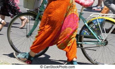 Summer Pedestrians Commuters Walking On A Busy Street