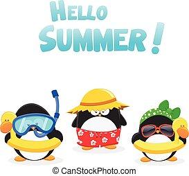 Summer Penguins - Cute little penguins wearing swimsuit.