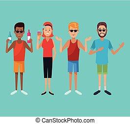 Summer people cartoon