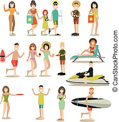 Summer people vector flat icon set