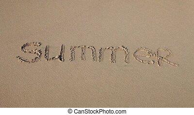"""""""summer"""", piasek, słowo, pociągnięty"""