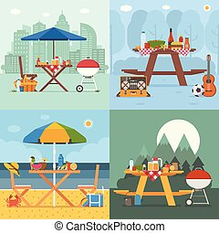 Summer Picnic and Barbecue Backgrounds